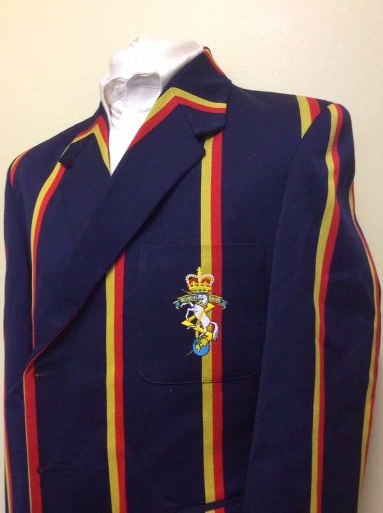 Navy Blazer with red and yellow stripes