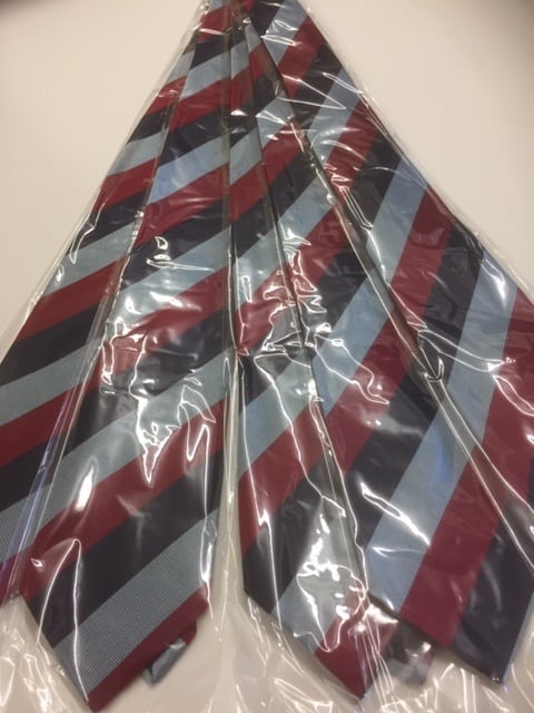 Maroon, Black and Grey striped ties