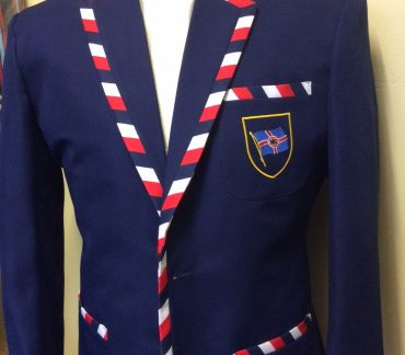 Navy blazer with striped detailing