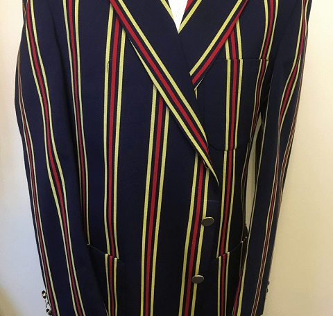 Navy, Yellow and Red Striped Blazer