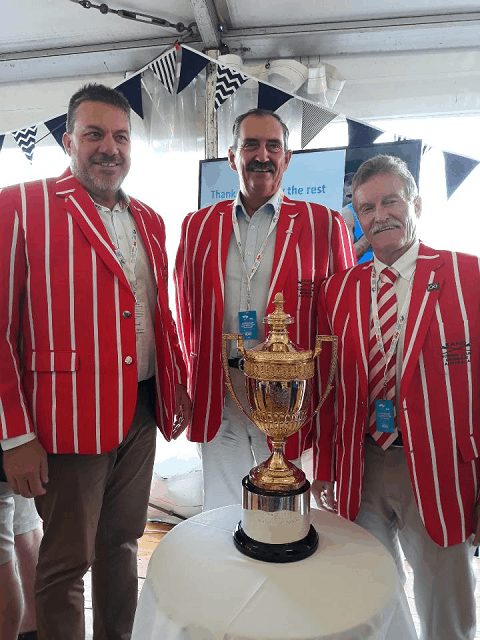 Gentlemen in Red and white striped Blazers