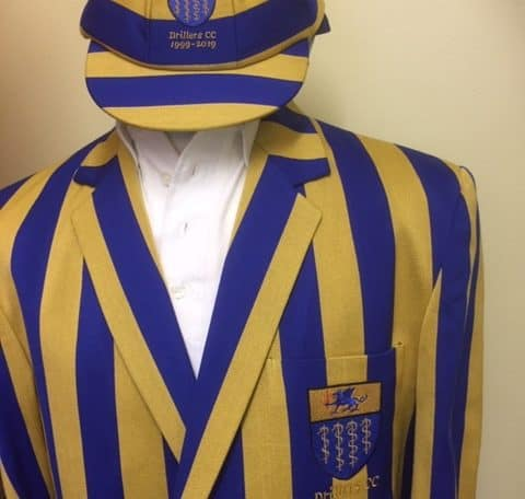 Blue and yellow striped cricket blazer and cap