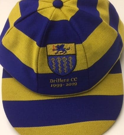 Blue and Yellow striped cricket caps