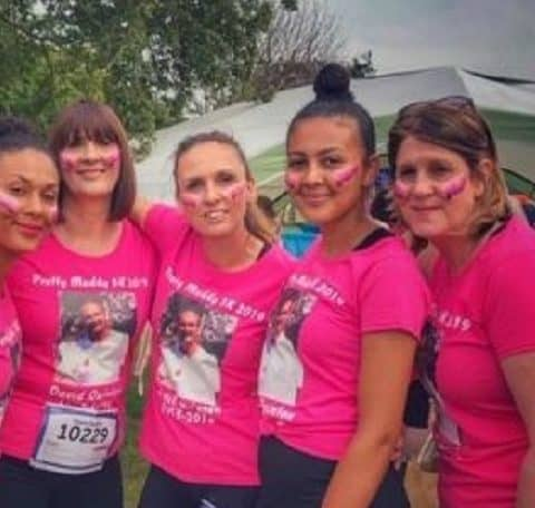 Ladies in bright pink t shirts