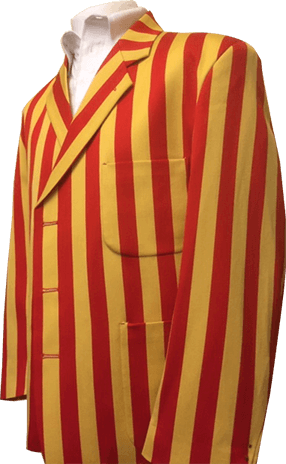 Red and yellow striped blazer